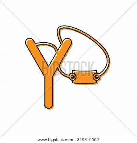 Orange Slingshot Icon Isolated On White Background. Vector Illustration