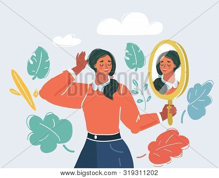 Cartoon Vector Illustration Of Beautiful Woman Staring At Her Reflection In A Mirror. Self Love Conf