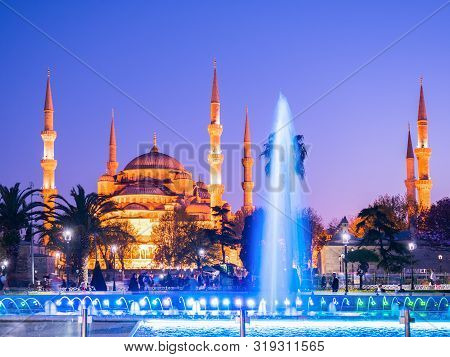 Istanbul, Turkey - April 21, 2018: The Blue Mosque, (sultanahmet Camii) At Night, Istanbul, Turkey