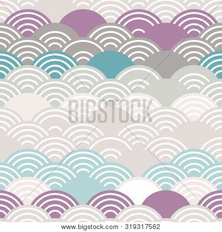 Seigaiha Literally Means Wave Of The Sea. Seamless Pattern Abstract Scales Simple Nature Background