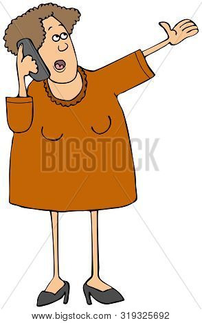 Illustration Of A Woman Motioning With Her Hand While Talking On A Cell Phone.