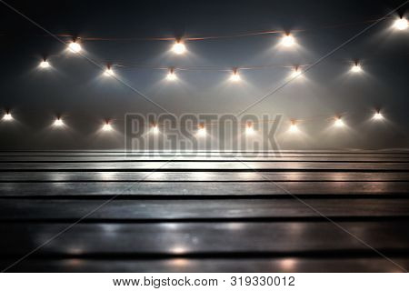 Background Of Empty Dark Scene With A Wooden Old Floor. Neon Light, Smoke. Dark Abstract Background.