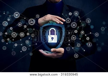 Network Security System Concept, Locked Key Inside A Shield Guard To Protected Identify Or Personal