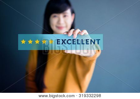 Customer Experience Concept, Happy Woman Show Excellent Rating With Five Star Icon For Her Satisfact