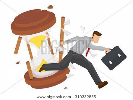 Businessman Running With A Broken Hourglass Behind. Concept Of Time Management Or Urgency. Flat Isol