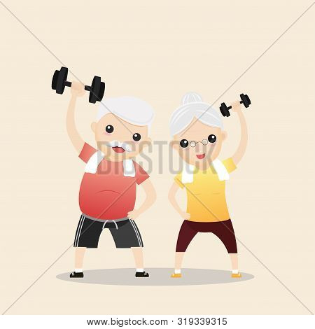 Elderly People Exercising. Active Healthy Workout Aged People. Grandparents Making Morning Exercises