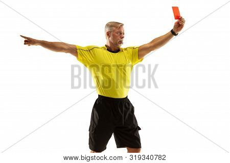 Referee Showing A Red Card And Gesturing To A Football Or Soccer Player While Gaming Isolated On Whi