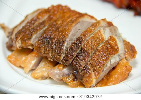 A Close Up Of Slice Roasted Duck