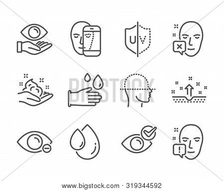 Set Of Medical Icons, Such As Health Eye, Face Declined, Rubber Gloves, Oil Drop, Clean Skin, Myopia