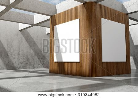Large demonstration hall with billboard on concrete walls, concepts art hall, 3D illustration, rendering.