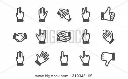 Hand Gestures Icons. Handshake, Clapping Hands, Victory. Horns, Thumb Up Finger, Drag And Drop Icons