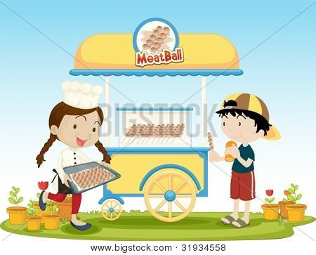 Illustration of kids selling food