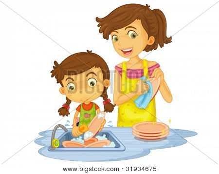 Illustration of mother and daughter washing dishes