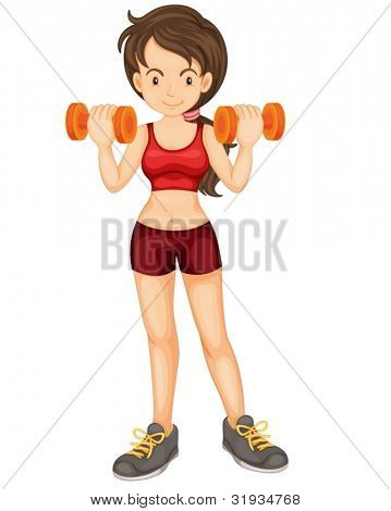 Illustration of girl training with weights