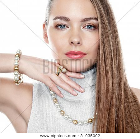Beautiful woman with peral jewellery poster