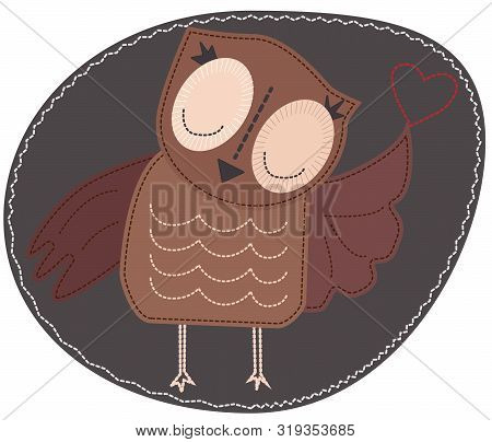 Owl Is Holding A Heart. Imitation Of Stripe, Fabric And Stitching, Seam