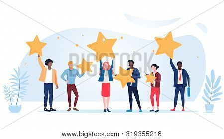 People Are Holding Stars Over The Heads. Feedback Consumer Or Customer Review Evaluation, Satisfacti
