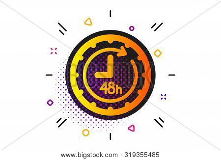 Delivery Service Sign. Halftone Circles Pattern. 48 Hours Icon. Classic Flat 48 Hours Icon. Vector