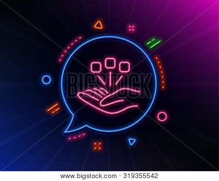 Consolidation Line Icon. Neon Laser Lights. Business Strategy Sign. Glow Laser Speech Bubble. Neon L