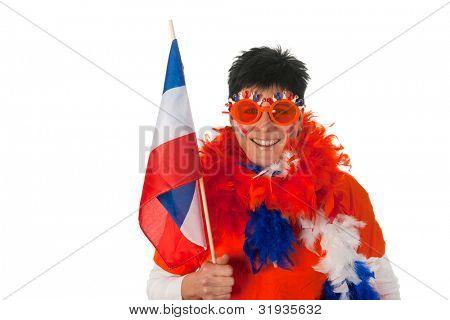 Dutch woman dressed in orange with Holland flag as a soccer fan