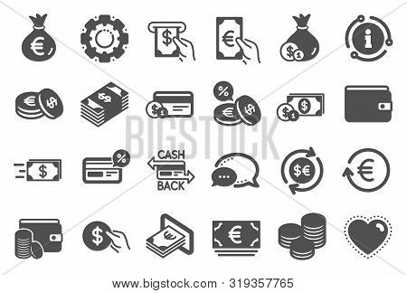 Money Wallet Icons. Set Of Credit Card, Cash And Coins Icons. Banking, Currency Exchange And Cashbac