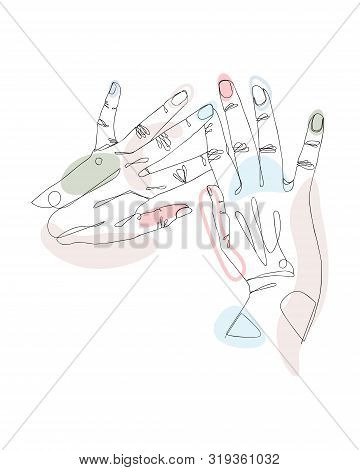 Continuous Single Non-painted One-line Intertwined Hands Of A Woman Drawn By Hand Picture Silhouette