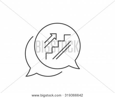 Stairs Line Icon. Chat Bubble Design. Shopping Stairway Sign. Entrance Or Exit Symbol. Outline Conce