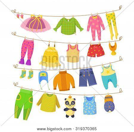 Kids Dry Clothes On Clothesline Vector Cartoon Illustration