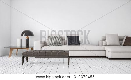 Modern simple monochromatic white living room interior with large sofa and day bed on a painted wooden floor lit by daylight in a low angle view. 3d rendering.