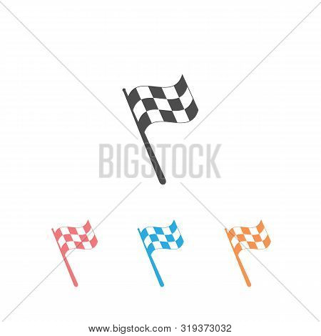 Checkered Racing Flag Icon Set. Starting Flag Auto And Moto Racing. Sport Car Competition Victory Si