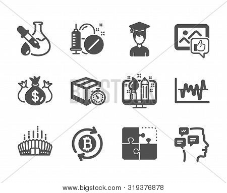 Set Of Business Icons, Such As Messages, Like Photo, Chemistry Experiment, Refresh Bitcoin, Check In