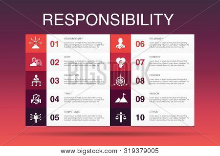 Responsibility Infographic 10 Option Template.delegation, Honesty, Reliability, Trust