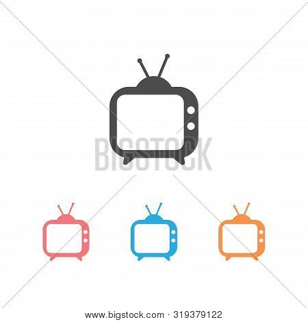 Tv Icon Set. Tv Icon In Trendy Flat Style Isolated On White Background. Television Symbol For Your W