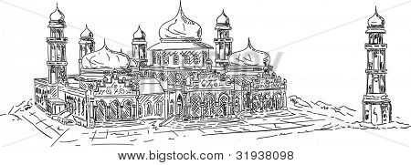 vector - banda aceh mosque, isolated on background poster