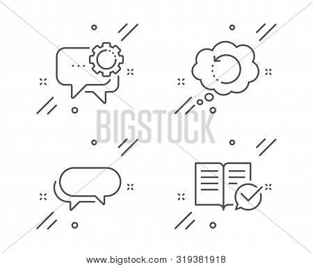 Messenger, Employees Messenger And Recovery Data Line Icons Set. Approved Documentation Sign. Speech