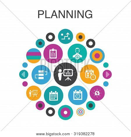 Planning Infographic Circle Concept. Smart Ui Elements Calendar, Schedule, Timetable, Action Plan