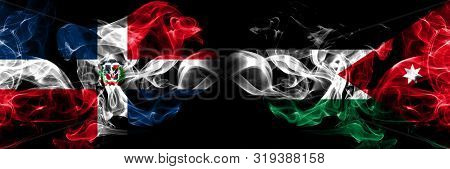 Dominican Republic, Dominican, Jordan, Jordanian Smoky Mystical Flags Placed Side By Side. Thick Col
