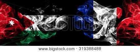 Jordan, Jordanian, France, French Smoky Mystical Flags Placed Side By Side. Thick Colored Silky Smok