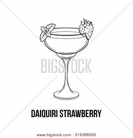 Daiquiri strawberry vector hand drawn illustration. Alcoholic fruity cocktail with berry on glass. Monochrome strong drink, beverage glassware ink drawing. Bar menu, poster design element poster