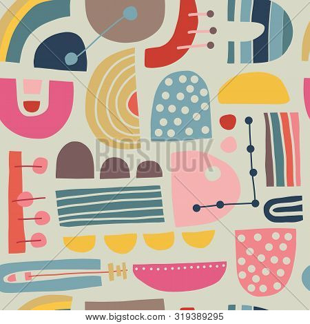 poster of Abstract Scandinavian geometric seamless vector pattern. Modern vintage stylish Bauhaus background design for fabric, poster, cover, textile, web, wallpaper, postcard design. Scandi style home decor