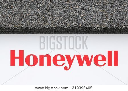 Lozanne, France - August 9, 2019: Honeywell Logo On A Wall. Honeywell Is An American Multinational C