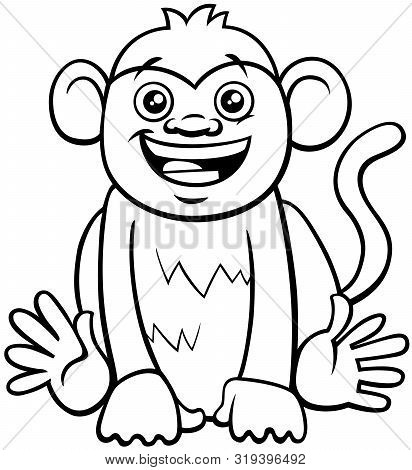 Black And White Cartoon Illustration Of Cute Funny Monkey Primate Animal Character Coloring Book