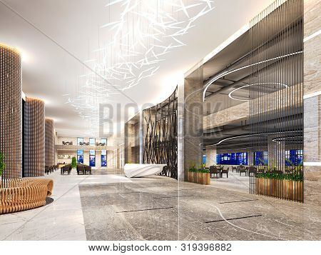 3d Render Of Luxury Hotel Reception Hall