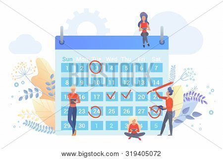 poster of Workers planning time with calendar flat vector illustration. People marking dates with red circle, check signs cartoon characters. Time management metaphor. Scheduling agenda, company events