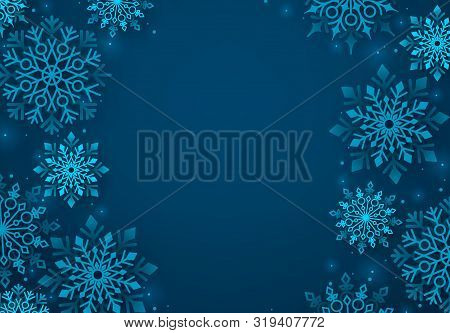 Winter Snowflakes Vector Background. Winter Snow Background In Blue Color And Blank Space For Greeti
