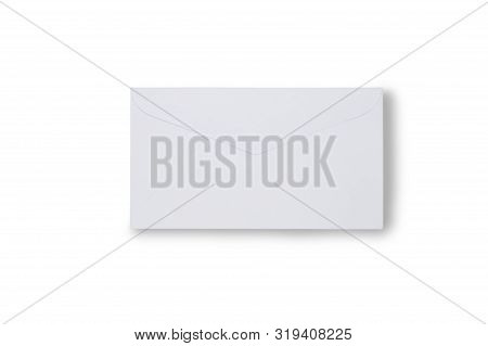 Close Up Mail Envelope Isolated On White With Clipping Path. Mail Paper Envelope Di Cut With Clippin