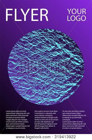Brochure layout design template. Proton purple and cyan blue esports texture. Buzzing rippling motion background texture. Business brochure vector cover layout. Presentation slides cover page. poster