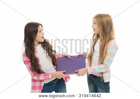 Upbringing And Greediness Problem. Greedy Friends. Greedy Children Concept. Share Book With Classmat