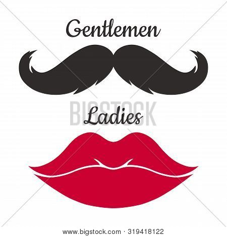 Ladies And Gentlemen Icon Isolated On White Background. Mustaches And Lips  Vector Shape.