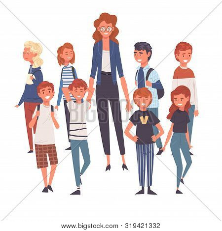 Smiling Female Teacher Standing With Group Of Students Vector Illustration